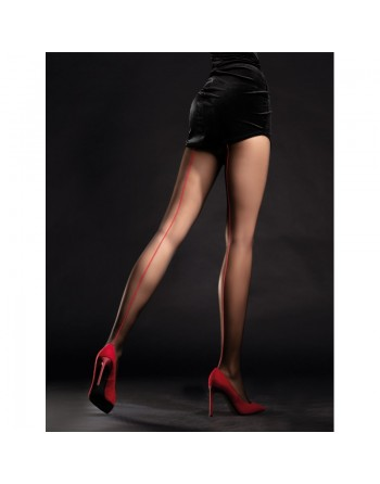 Unique Collants 20 DEN - Noir  Rouge